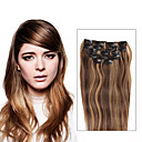 tanie Dopinki clip in-Clip In Ludzkich włosów rozszerzeniach Prosta Doczepy z naturalnych włosów Włosy naturalne Średni brąz / Truskawkowy blond