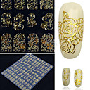 cheap Nail Glitter-108 pcs nail sticker metal retro hollow totem gold silver nail sticker