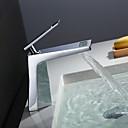 זול וילונות חלון-חדר רחצה כיור ברז - מפל מים כרום סט מרכזי חור ידית אחת אחת