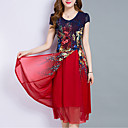 cheap Jewelry Sets-Women's Plus Size Going out Chiffon Dress - Floral Layered / Print / Summer