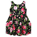 cheap Girls' Dresses-Girl's Floral Fashion Dress, Cotton Summer Sleeveless Floral Bow Green