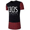baratos Duchas & Acessórios-Homens Camiseta - Esportes Xadrez Quadriculada Algodão Decote Redondo