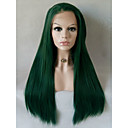cheap Synthetic Capless Wigs-long straight green candy colored cosplay heat resistant lace front wig