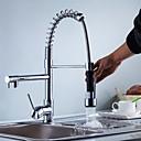 preiswerte Küchenarmaturen-Moderne Mittellage Mit ausziehbarer Brause Keramisches Ventil Einhand Ein Loch Chrom, Armatur für die Küche