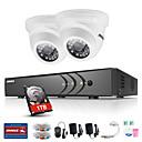 baratos Luzes de Seta para Veículos-annke® 4ch 2pcs tvi 720p monitor de vídeo ip rede cctv ahd dvr p2p camera home surveillance security system