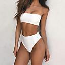 preiswerte Wandteppiche-Damen Bandeau Bikinis Solide Trägerlos Hohe Taillenlinie