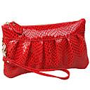 abordables Pelucas Sintéticas de Malla-Mujer Bolsos Cuero Bolso de Mano Estampado de Serpiente Rojo / Color Camello / Pinky