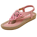 cheap Women's Sandals-Women's Shoes Microfiber Spring / Summer Comfort / Light Soles Sandals Walking Shoes Flat Heel Round Toe Rhinestone / Appliques / Flower Black / Pink / Almond