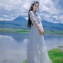 baratos Fantasias do Mundo Antigo-Princesa Casual Lolita Dress Mulheres Para Meninas Vestidos Cosplay Branco / Azul / Rosa claro Até o Tornozelo Fantasias