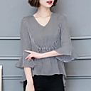 cheap Clutches & Evening Bags-Women's Blouse - Striped V Neck