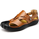 cheap Men's Sandals-Men's Cowhide Spring / Summer Comfort Sandals Hiking Shoes Brown / Dark Brown / Khaki