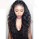 billiga Speglar Väggklockor-Äkta hår Spetsfront Peruk Brasilianskt hår Vågigt Vattenvågor 130% Densitet Med Babyhår Med blekta knutar Till färgade kvinnor Naturlig