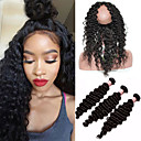 cheap LED Flood Lights-8a 360 lace frontal with bundles mongolian virgin hair deep wave curly pre plucked 360 frontal closure with 3 bundles baby hair