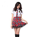 cheap Anime Cosplay Wigs-Student / School Uniform Cosplay Costume Party Costume Women's School Uniforms Halloween Carnival Festival / Holiday Outfits Red / White Plaid