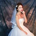 baratos Bouquets de Noiva-Uma Camada Borda com aplicação de Renda Véus de Noiva Véu Cotovelo Véu Ponta dos Dedos Com Apliques Estampa Renda Tule