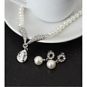 baratos Conjuntos de Bijuteria-Mulheres Conjunto de jóias - Imitação de Pérola Caído Incluir Branco Para Casamento / Festa / Aniversário