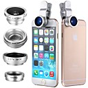 cheap Smartphone Camera Lenses-Clip 4in1 180 Fish Eye Wide angle  Micro Telephoto Lens for itouch ipad iPhone Samsung HTC