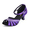 baratos Sapatos de Dança Latina-Mulheres Sapatos de Dança Latina Cetim Salto Presilha / Cristal / Strass Salto Personalizado Personalizável Sapatos de Dança Roxo / Vermelho / Nú / Interior / Couro