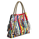 cheap Totes-Women's Bags Cowhide Tote Split Joint Rainbow