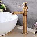 cheap Bathroom Sink Faucets-Bathroom Sink Faucet - Waterfall Antique Copper Centerset Single Handle One HoleBath Taps