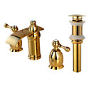 cheap Faucet Sets-Widespread Waterfall Brass Valve Two Handles Three Holes Gold, Faucet Set