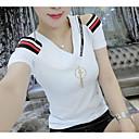 저렴한 여성 상의-여성용 솔리드 / 줄무늬 V 넥 티셔츠, 베이직 면 / 여름