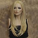 halpa Synteettiset peruukit verkolla-Synteettiset pitsireunan peruukit Suora Tyyli Lace Front Peruukki Musta Vaaleahiuksisuus Synteettiset hiukset Naisten Musta Peruukki Pitkä StrongBeauty Luonnollinen peruukki