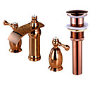 cheap Bathroom Sink Faucets-Faucet Set - Waterfall Rose Gold Widespread Two Handles Three Holes