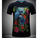 cheap Pillow Covers-Men's Slim T-shirt - Animal Chiffon Round Neck / Short Sleeve