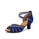 baratos Sapatos de Dança Latina-Mulheres Sapatos de Dança Latina Salto Pedrarias Salto Personalizado Personalizável Sapatos de Dança Preto / Vermelho / Azul / Interior
