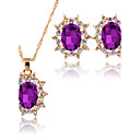 cheap Jewelry Sets-Women's AAA Cubic Zirconia Jewelry Set - Classic, Fashion, Euramerican Include Pendant Necklace Bridal Jewelry Sets Dark Blue / Purple / Green For Christmas Christmas Gifts Wedding Party Special