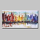 tanie Obrazy olejne-Hang-Malowane obraz olejny Ręcznie malowane - Krajobraz Nowoczesny / Fason europejski Naciągnięte płótka / Rozciągnięte płótno