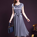 cheap Fishing Lures & Flies-Women's Plus Size Going out Chiffon / Swing Dress - Solid Colored Bow V Neck / Summer