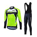 voordelige Wielrenshirts & shorts/broeken sets-Fastcute Heren Lange mouw Wielrenshirt met strakke wielrenbroek - Rood / Groen / Blauw Fietsen Pakken, Houd Warm, Ademend Fleece