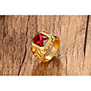 cheap Rings-Men's Women's Synthetic Ruby Ring - Titanium Steel Princess Statement, Classic, Vintage 8 / 9 / 10 / 11 / 12 Gold For Halloween Party / Evening Daily