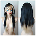 cheap Synthetic Capless Wigs-Synthetic Wig Straight Layered Haircut / With Bangs Synthetic Hair Highlighted / Balayage Hair Black / Gray Wig Women's Long Capless Black