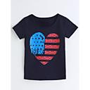 halpa אודיו ווידאו-Tyttöjen Geometrinen T-paita Puuvilla Kesä Lyhythihainen Laivaston sininen