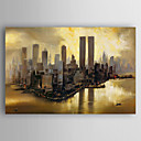 cheap Ceiling Lights-Oil Painting Hand Painted - Landscape Abstract Canvas / Stretched Canvas