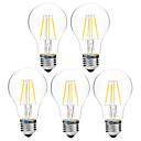 cheap LED Spot Lights-BRELONG® 5pcs 4W 300lm LED Filament Bulbs A60(A19) 4 LED Beads COB Dimmable Warm White White 200-240V