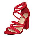 baratos Sandálias Femininas-Mulheres Sapatos Tecido Verão Sandálias Salto Robusto Dedo Aberto Ziper Preto / Vermelho / Sapatos clube / Festas & Noite