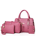 cheap Bag Sets-Women's Bags PU Bag Set Zipper Black / Red / Blushing Pink
