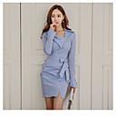 baratos Bijoux de Corps-Mulheres Para Noite / Trabalho Moda de Rua Tubinho Vestido Listrado Decote V Acima do Joelho Azul