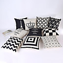 cheap Pillow Covers-1 pcs Linen Pillow Case, Striped / Geometric / Graphic Prints Casual / Traditional / Classic