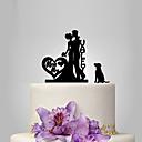 baratos Ligas para Noivas-Decorações de Bolo Tema Clássico / Romance / Casamento Casal Clássico Plástico Casamento com 1 pcs Bolsa Poly