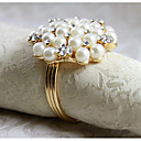 cheap Napkin Ring-Pearl Crystal Best Quality Napkin Ring New Set Of 12 PCS Iron 1.77 Inch