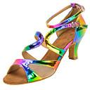 baratos Sapatos de Dança Latina-Mulheres Sapatos de Dança Latina Courino Sandália / Salto Presilha Salto Personalizado Personalizável Sapatos de Dança Arco-íris