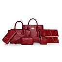 رخيصةأون مجموعات حقائب-للمرأة أكياس PU مجموعات حقيبة 6 قطع محفظة مجموعة أسود / أحمر / بني