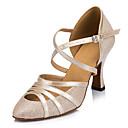 baratos Sapatos de Dança Latina-Mulheres Sapatos de Dança Moderna Courino Sandália / Têni Presilha Salto Agulha Personalizável Sapatos de Dança Dourado / Preto / Prata