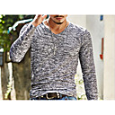 cheap Watch Accessories-Men's Basic Slim T-shirt - Solid Colored Print V Neck / Long Sleeve