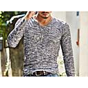 baratos Oxfords Masculinos-Homens Camiseta Básico Estampado, Sólido Decote V Delgado / Manga Longa